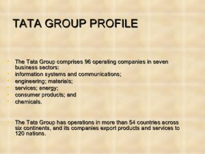 Facts About Tata Group
