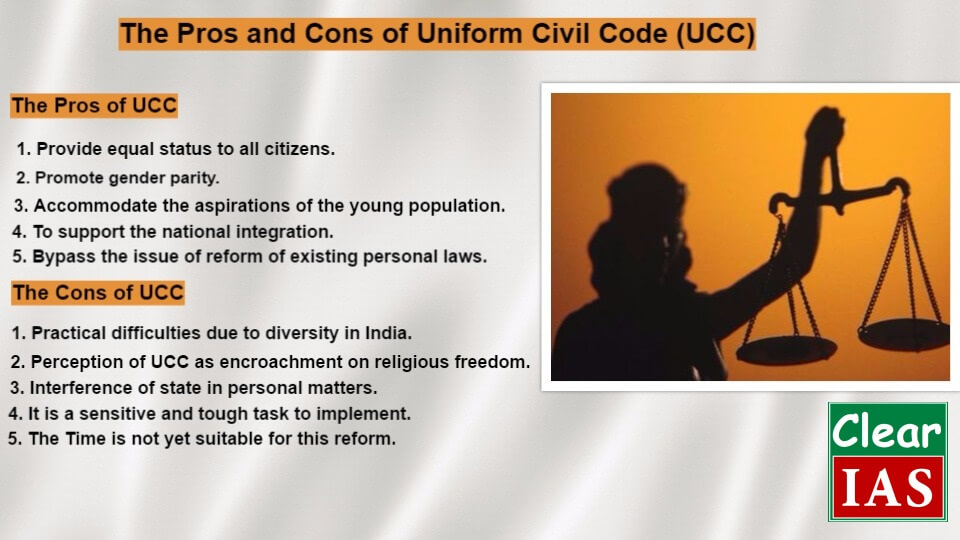 the uniform civil code The indian constitution desires and aims for a uniform civil code (ucc) for its citizens harmony, unity, equal treatment of everyone before law, equal penalty or punishment for everybody .